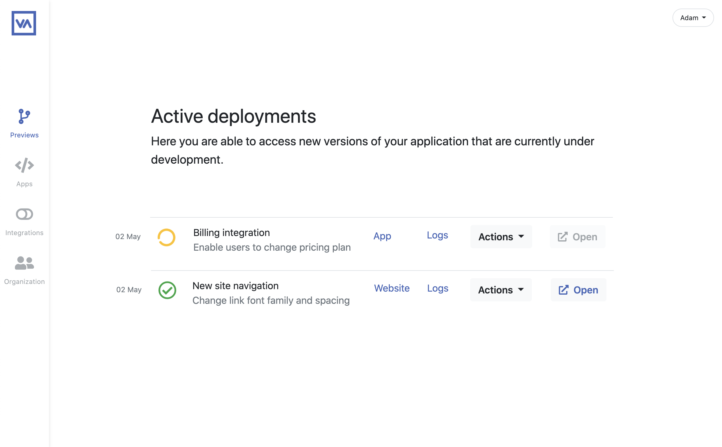 app screenshot of active deploymente